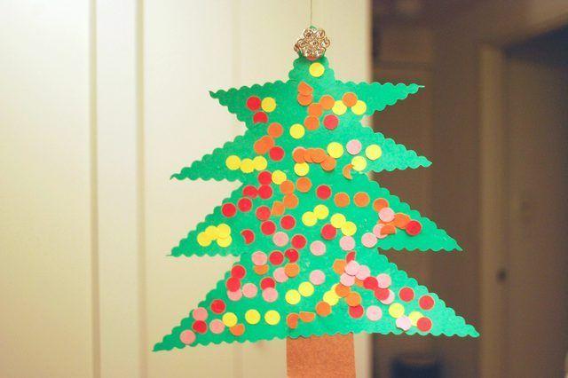 Caseras de papel de construcción decoraciones de Navidad