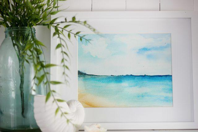 escena de la playa de la acuarela enmarcado