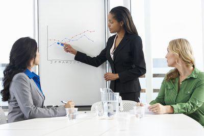 Un analista de contabilidad discute análisis de rentabilidad con el personal.
